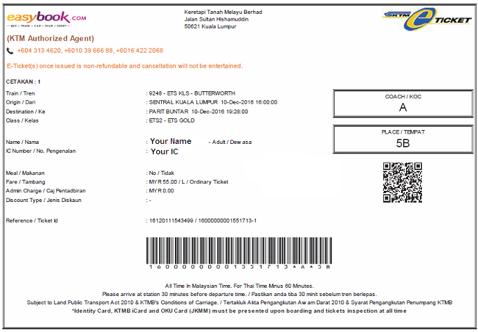 Ets Butterworth To Kl Sentral Online Tickets Tiket Bas Online