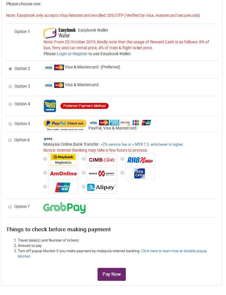 Easybook Payment Method